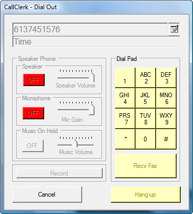 CallClerk - Dial Out Active Window